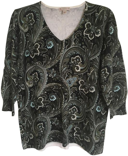 Item - V Neck Black Green Cream and Teal Sweater