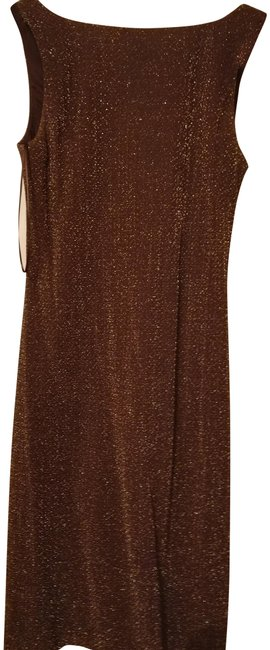 Item - Brown Metallic Gold Mid-length Night Out Dress Size 8 (M)