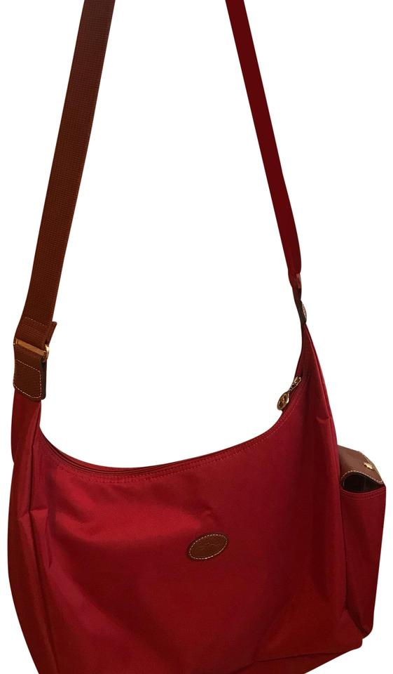 Longchamp Le Pilage Convertible Red Leather and Canvas Hobo Bag ... 04b9750870418
