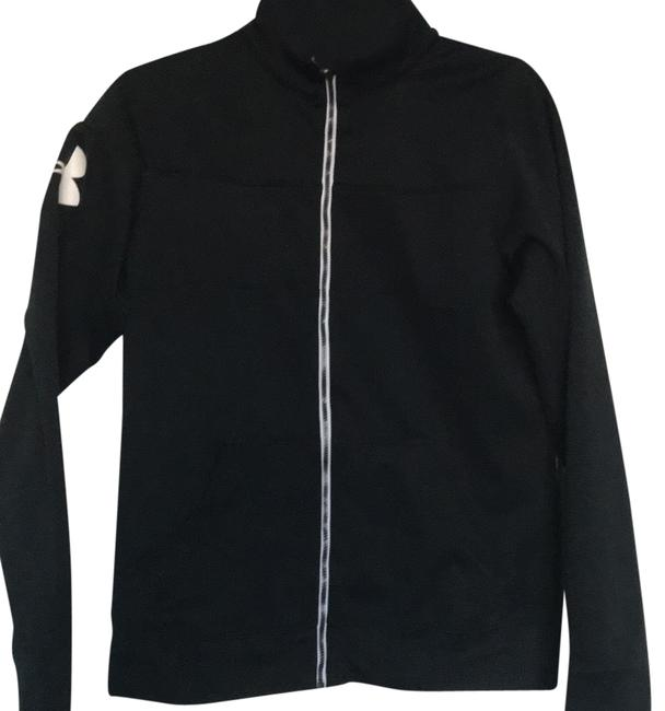 Item - Black W/ White Logo Long Sleeve Zip Up Activewear Outerwear Size 6 (S)