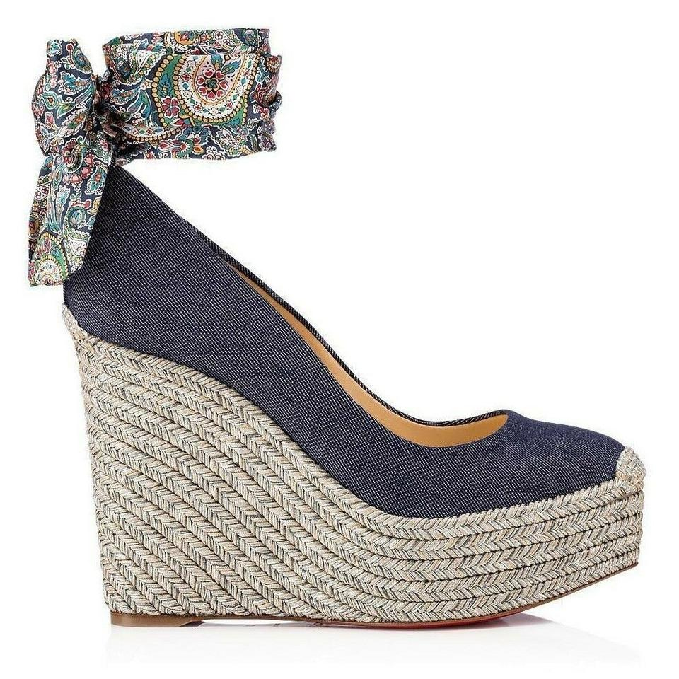 88b3d9ac7c96 Christian Louboutin Blue New Scarf Denim Espadrille Wedges Size US ...