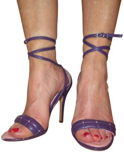 C Label Souble Ankle Strappy Sexy Leather purple Sandals