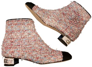 Chanel Cc Tweed Ankle Pink/Blue/Black Boots