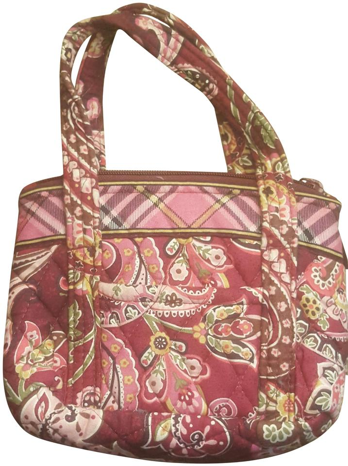 Vera Bradley Bitty Betsy Piccadilly Burgundy Plum Pink Cloth Tote ... 7fe829595c2e1