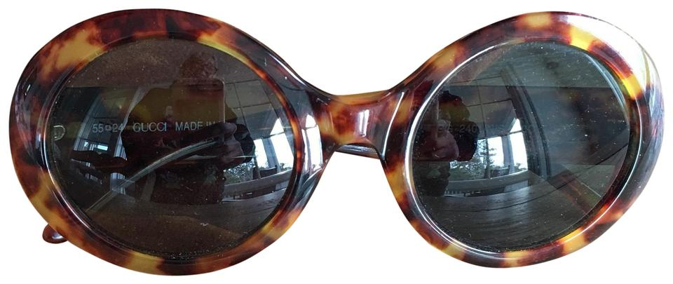c2fe212fad312 Gucci Brown Tortoise Shell Round Sunglasses Vintage Gucci GG 2401 N S Image  0 ...