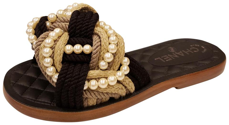 455ce69cf171 Chanel Beige Black Rev Braided Interwoven Pearl Cord Flat Mules ...
