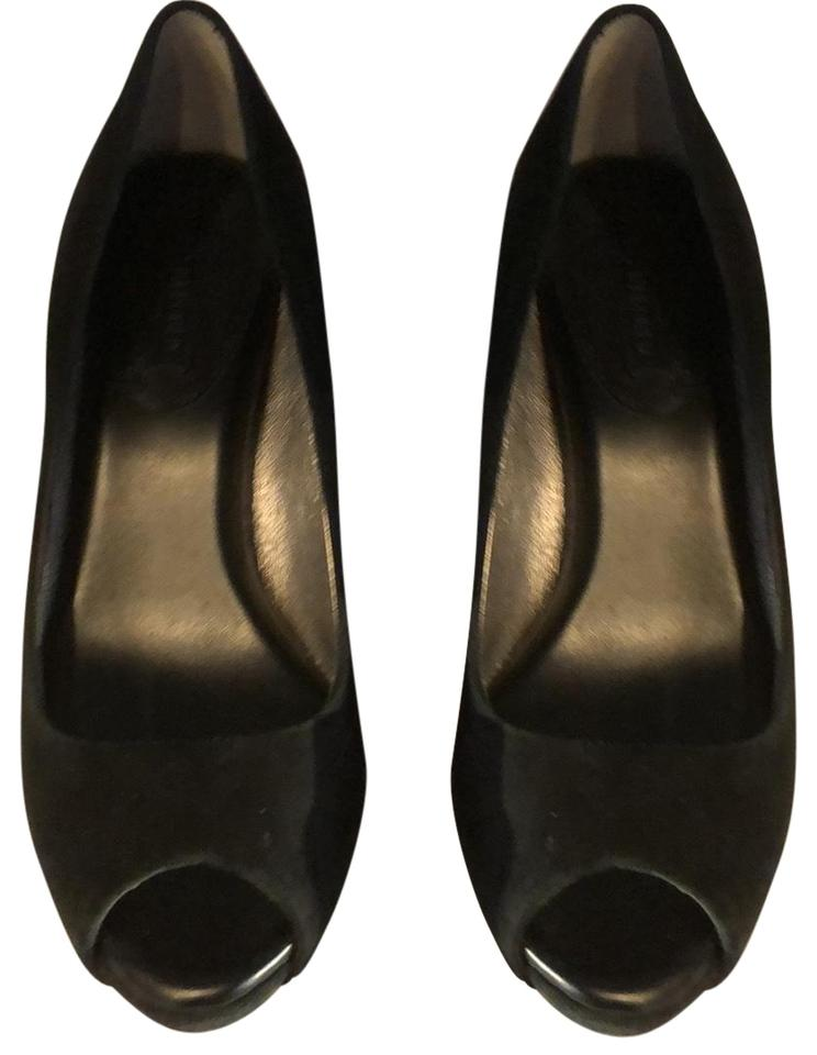 f39e236f1c90 Banana Republic Black Suede Peep Toe Pumps. Size  US 6 Regular (M ...