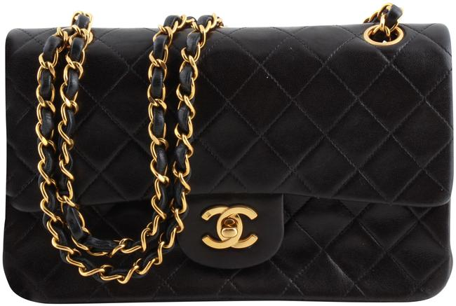 Chanel Double Flap Classic Quilted Black Lambskin Leather Shoulder Bag Chanel Double Flap Classic Quilted Black Lambskin Leather Shoulder Bag Image 1