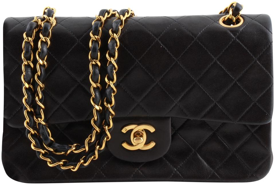 fe3b97e1eb58 Chanel Flap Classic Quilted Double Black Lambskin Leather Shoulder ...