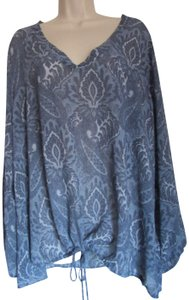 Michael Kors Pullover Paisley New With Tag Plus Size 2x Top Monterey Blue