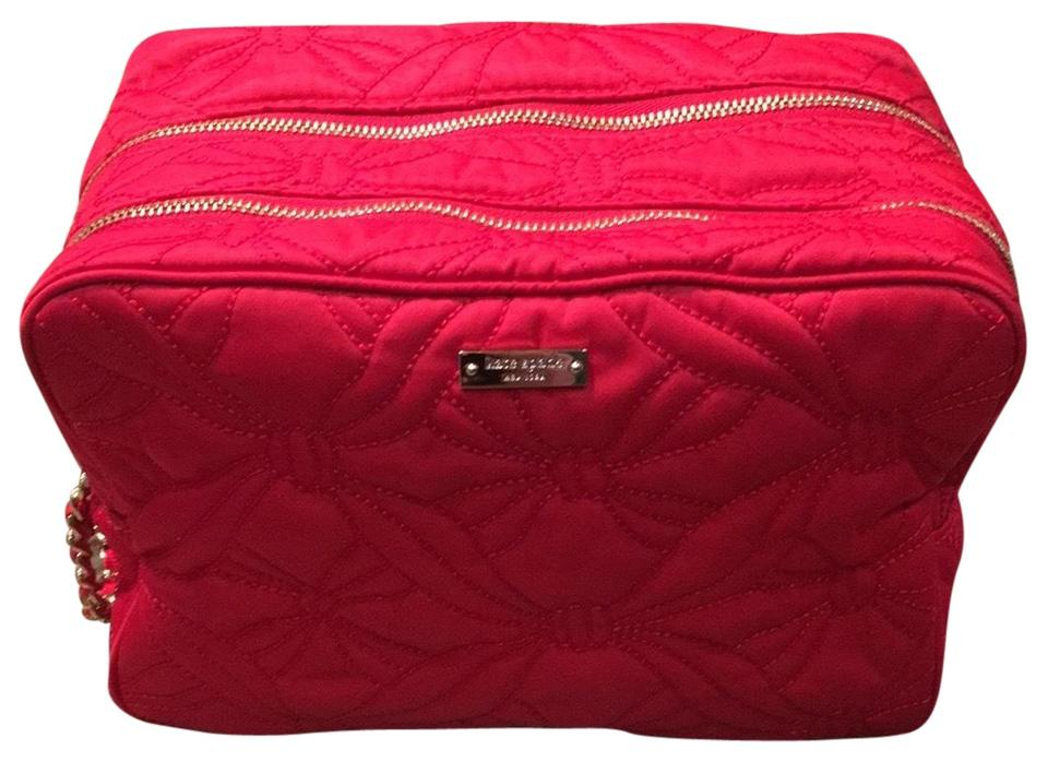 promo code d24fe 26c97 Kate Spade Red with Gold Hardware Large Quilted Makeup Cosmetic Bag