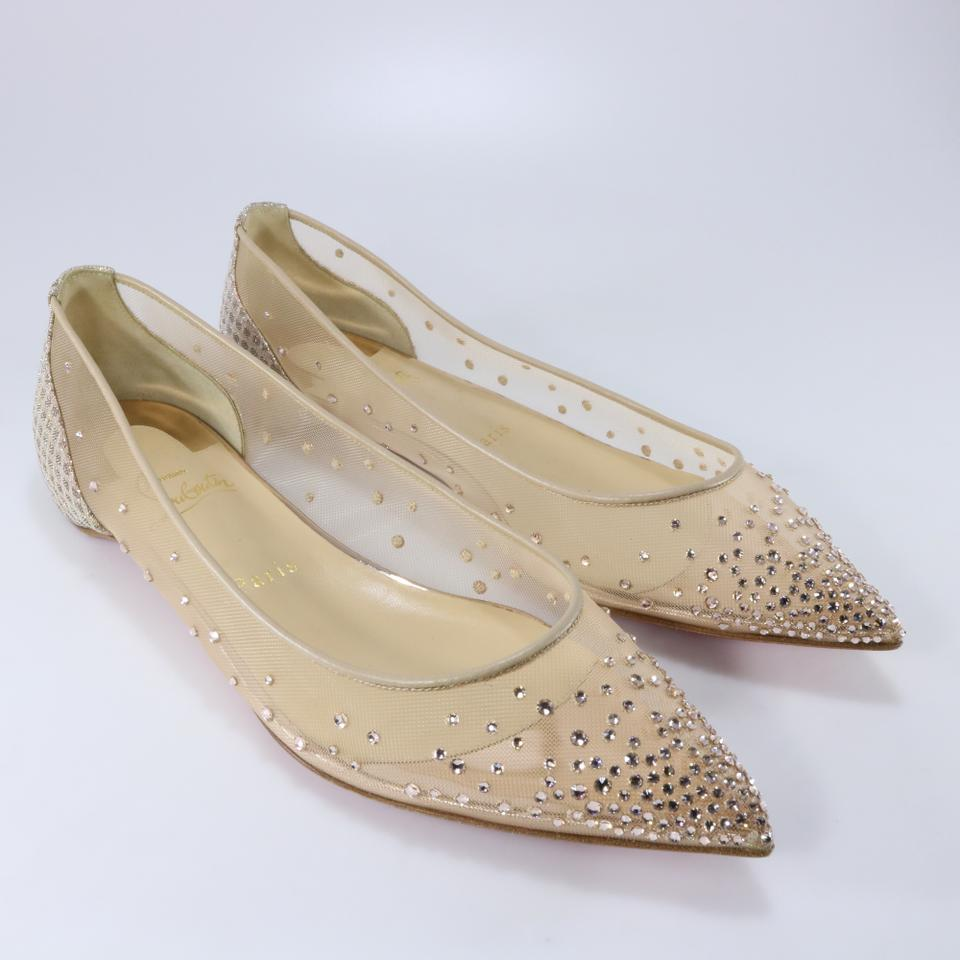0e238f30e4d Christian Louboutin Gold Bridal Follies Strass Mesh Crystal Rete Silk B320  Flats Size EU 39.5 (Approx. US 9.5) Regular (M, B) 32% off retail