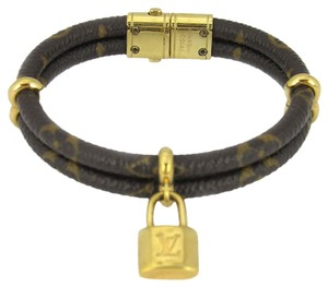 Louis Vuitton Louis Vuitton Keep It Twice Monogram Brown Leather Padlock Charm Brace