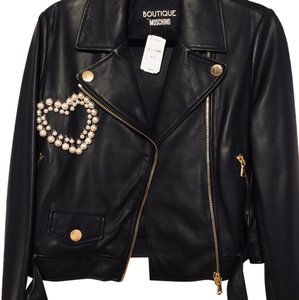 Boutique Moschino Mother Of Pearl Leather Zippers Notched Collar Motorcycle Jacket