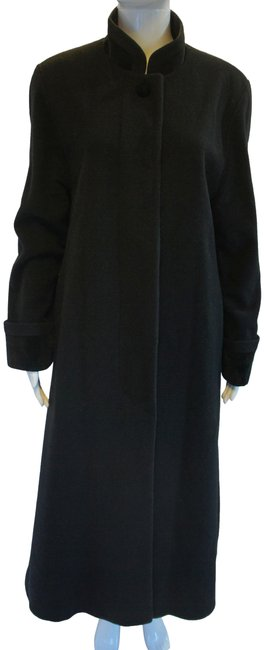 Item - Black Wool with Standing Collar and Velvet Detail Coat Size 12 (L)