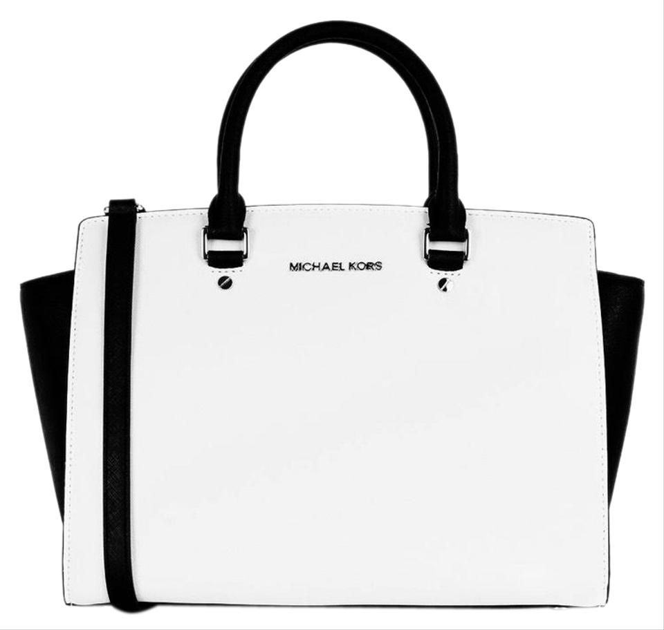 MICHAEL Michael Kors Selma Saffiano Large Handbag Black and White ... acf875c0bc5a1