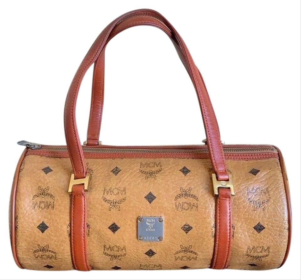 a7986fd84f MCM Vintage Visetos Barrel Tube Round Handbag Cognac Coated Canvas ...