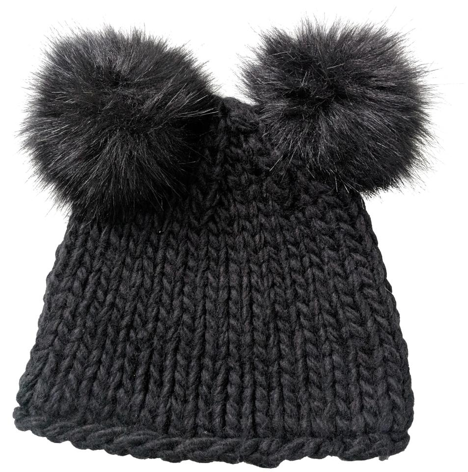 f373826c545 Barneys New York Black Double Pom Pom Wool Knit Nwot Hat - Tradesy