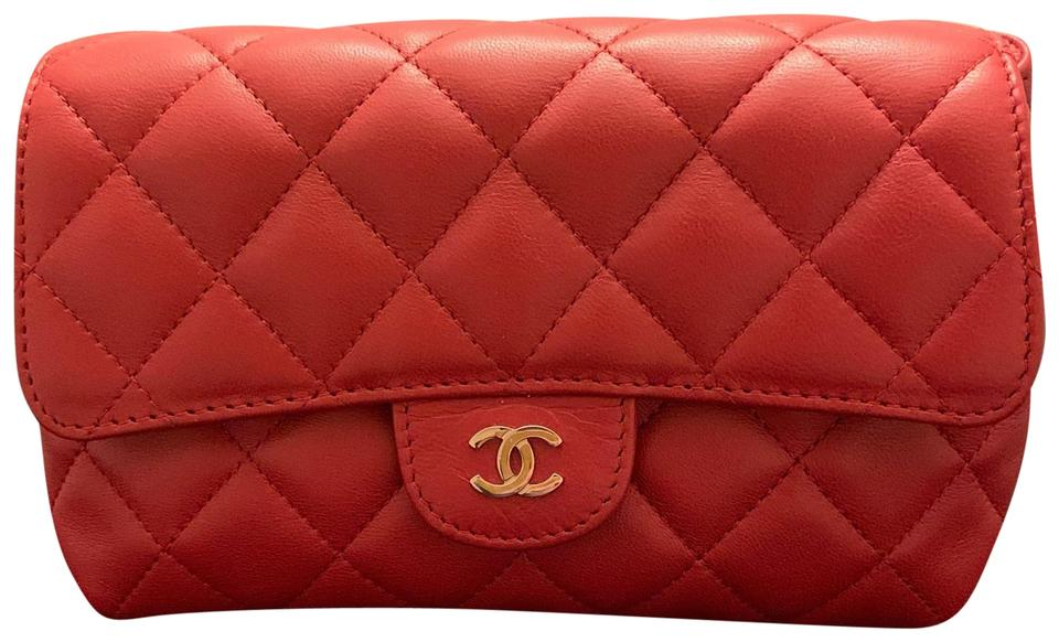 17477f77ac82 Chanel Red Classic Flap Magnetic Cosmetic Bag - Tradesy