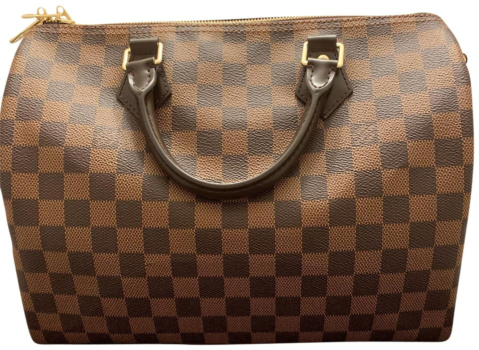 Louis Vuitton Made In France >> Louis Vuitton Speedy 30 Bandouliere Made In France Damier Ebene Coated Canvas Satchel