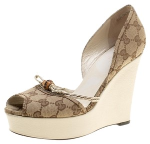 Gucci Canvas Peep Toe Beige Wedges