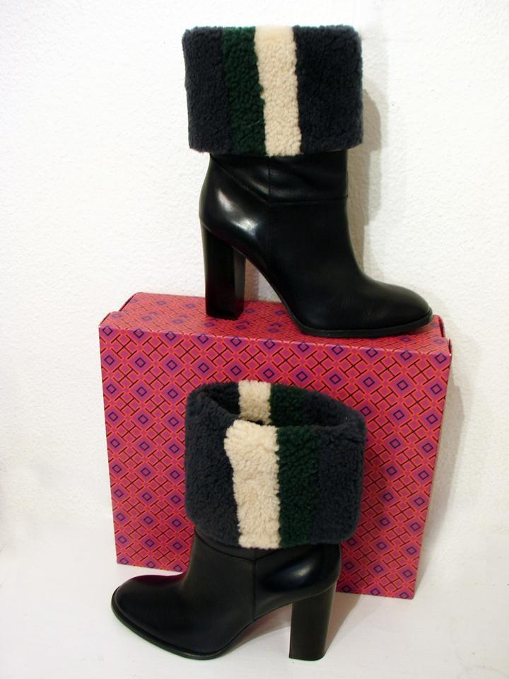 a231afe2c0a50 Tory Burch Navy Multi Bamford W Shearling Stripe Upper Boots Booties Size  US 10.5 Regular (M
