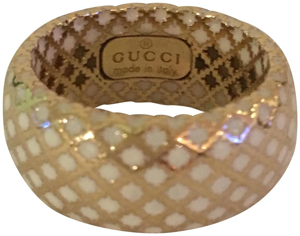 afe03ef43 Gucci GUCCI Diamantissima 18k Gold And White Enamel Ring Image 0 ...