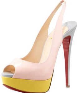 Christian Louboutin Pink/Grey/Yellow Platforms