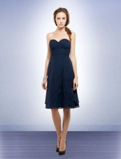 Bill Levkoff Navy Chiffon Style 561 Formal Bridesmaid/Mob Dress Size 8 (M)
