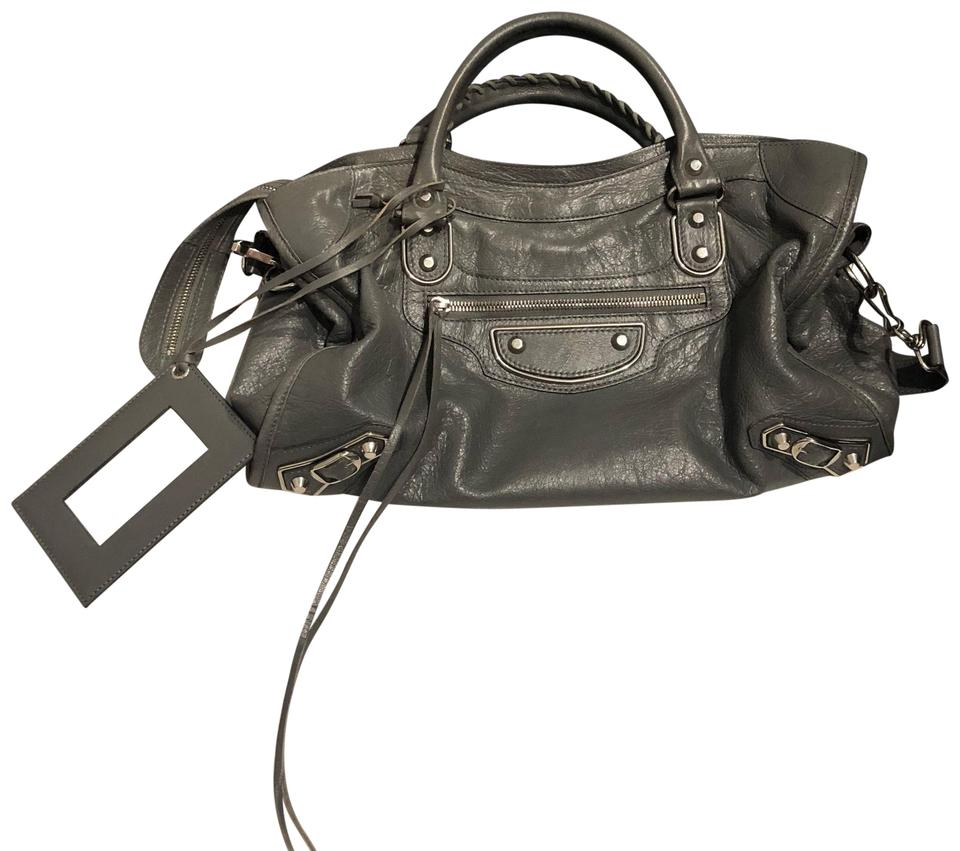 84e47ee4e5 Balenciaga Metallic Edge Gray Lambskin Leather Satchel - Tradesy