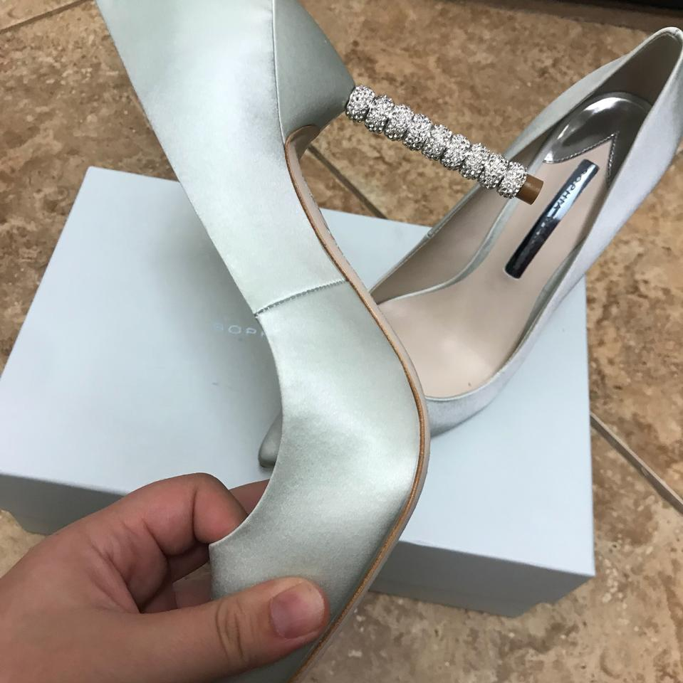 1a3beafdb15f78 Sophia Webster Ice Blue Coco Satin Crystal-heel Bridal Pumps Size EU 39.5  (Approx. US 9.5) Regular (M