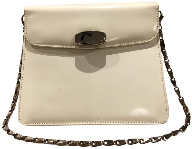 Item - Evening Patent with Heavy Silver-tone Chain White and Silver Leather Metal Shoulder Bag
