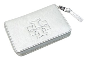Tory Burch Tory Burch Thea Zip Coin Case Silver 029 Leather NEW WITH TAGS
