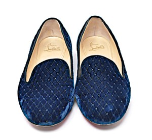 Christian Louboutin Quilted Velvet Crystals Navy Flats