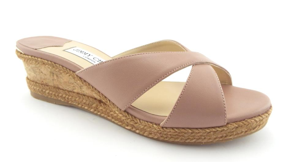 92bc17df36ea Jimmy Choo Ballet Pink Blush Leather Logo Detail Espadrille Wedges. Size   EU 39 ...