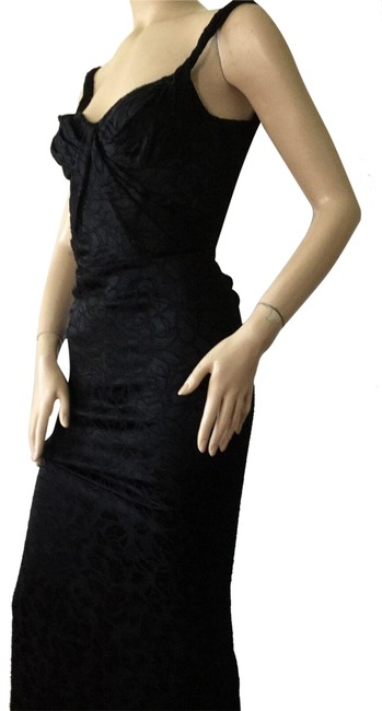 Item - Black Embroidered Sweetheart Sleeveless Long Formal Dress Size 2 (XS)