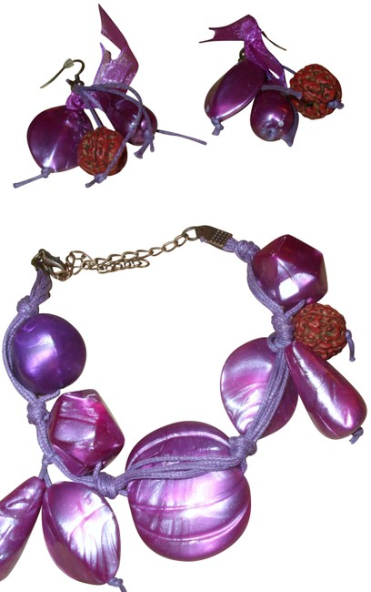 Item - Purple Red Artsy Bracelet & Earring Set Chunky Charm Dangle Drop Naturalized