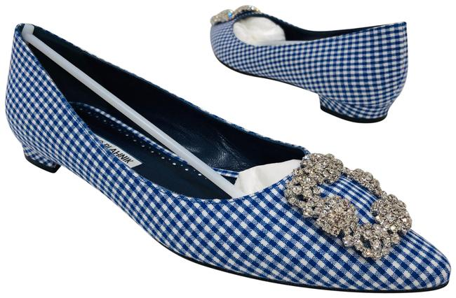 Item - Navy White Hangisi Gingham Jeweled Pointy Toe Ballet Flats Size EU 38 (Approx. US 8) Regular (M, B)