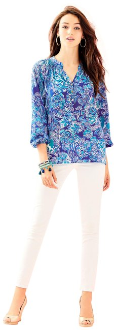 Lilly Pulitzer Royal Purple Cat Call XS New Elsa Blouse Size 2 (XS) Lilly Pulitzer Royal Purple Cat Call XS New Elsa Blouse Size 2 (XS) Image 1