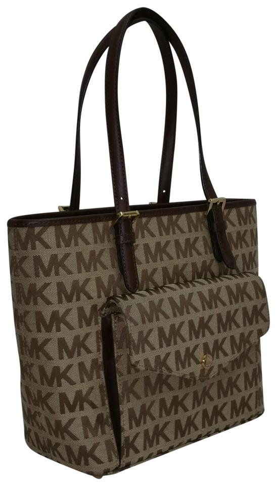 2a9a5bc5e827 Michael Kors Monogram Medium Jet Set Khaki/Brown Jacquard Tote - Tradesy