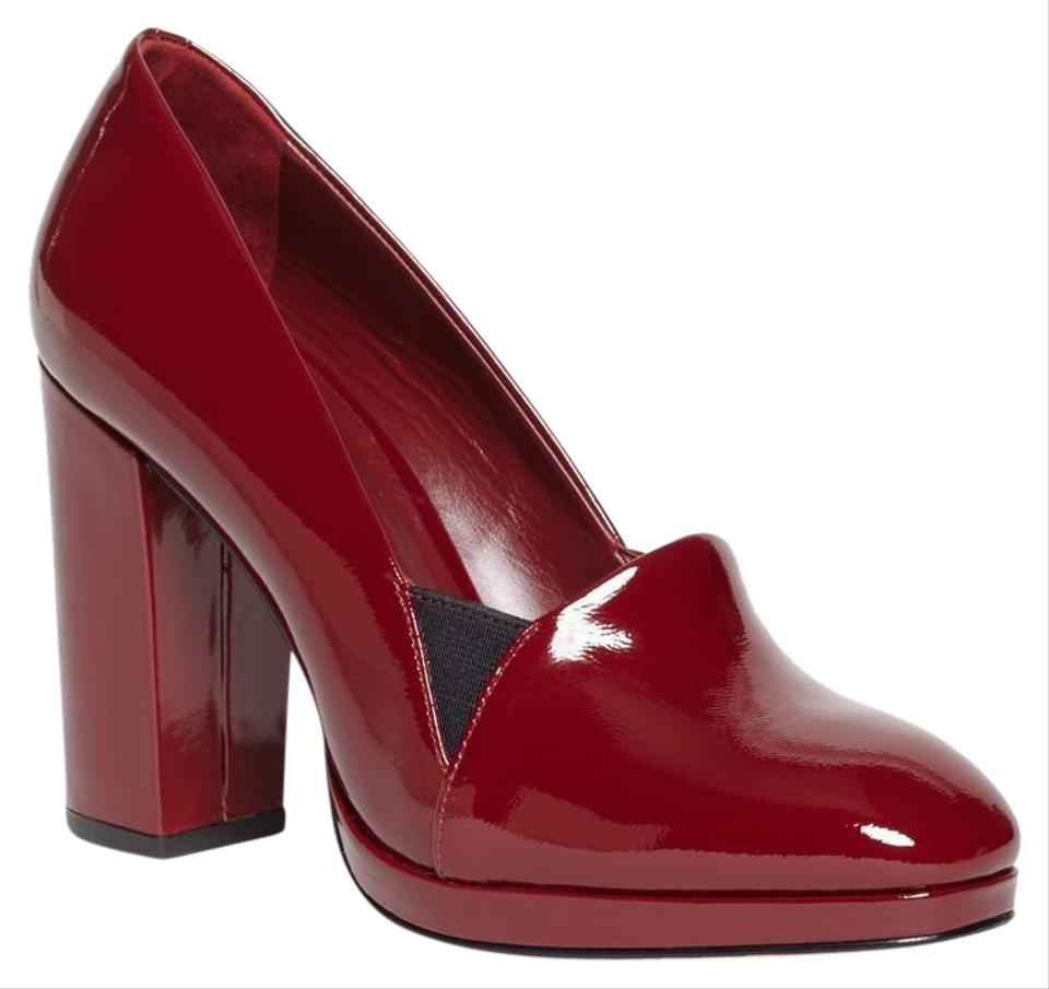 b2dba24e1ec0e Brooks Brothers Red Dark Stacked Patent Leather Heels Women New ...
