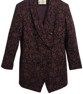 Lord & Taylor Jacquard Woven Classic Tapestry Wool Black Brown Red Gold Jacket