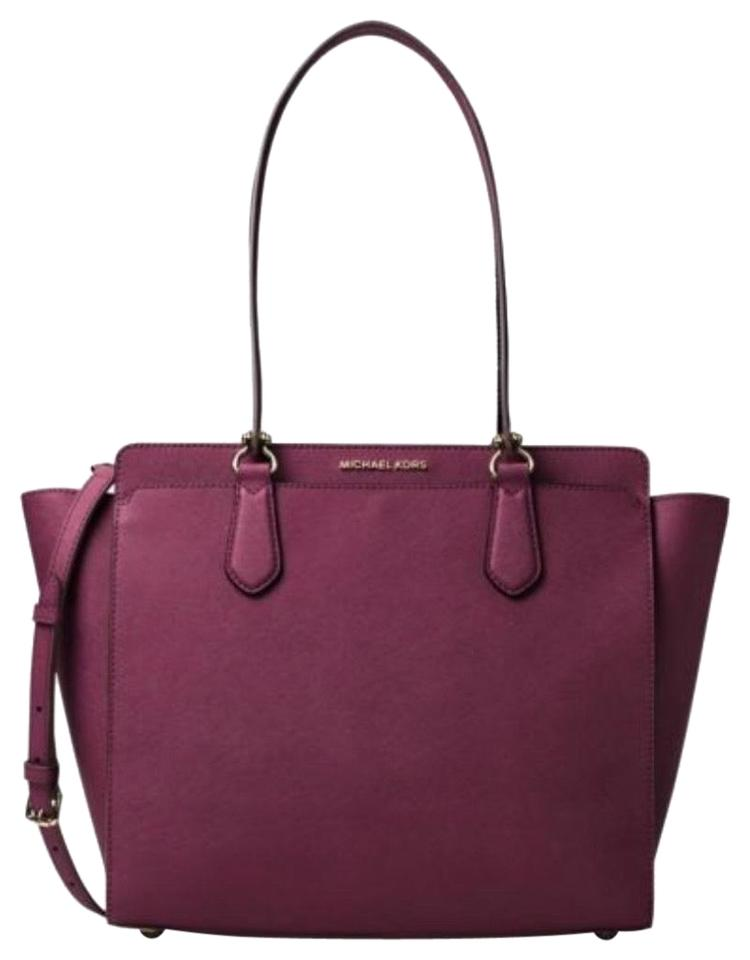 ea724b1e8a41 MICHAEL Michael Kors Dee Dee Large Convertible Color-plum Plum Saffiano Leather  Tote