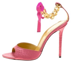 Charlotte Olympia Satin Ankle Strap Peep Toe PInk Sandals