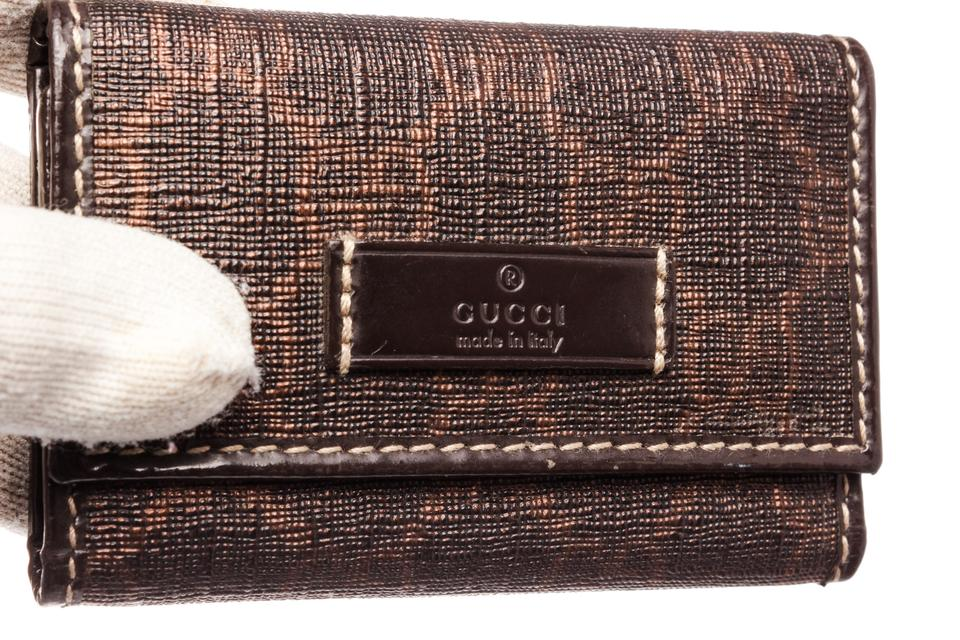 Gucci Gucci Brown Canvas Leather 6 Key Holder 1234567