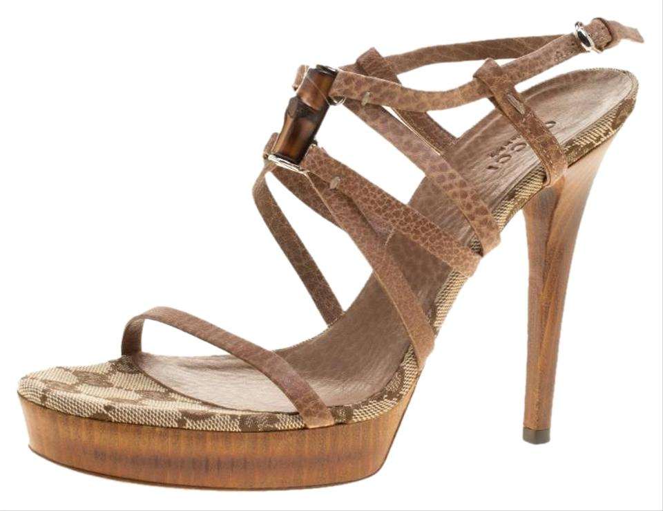 d48ab9e6fe Gucci Brown Leather Bamboo Icon Platform Sandals Size EU 36.5 ...