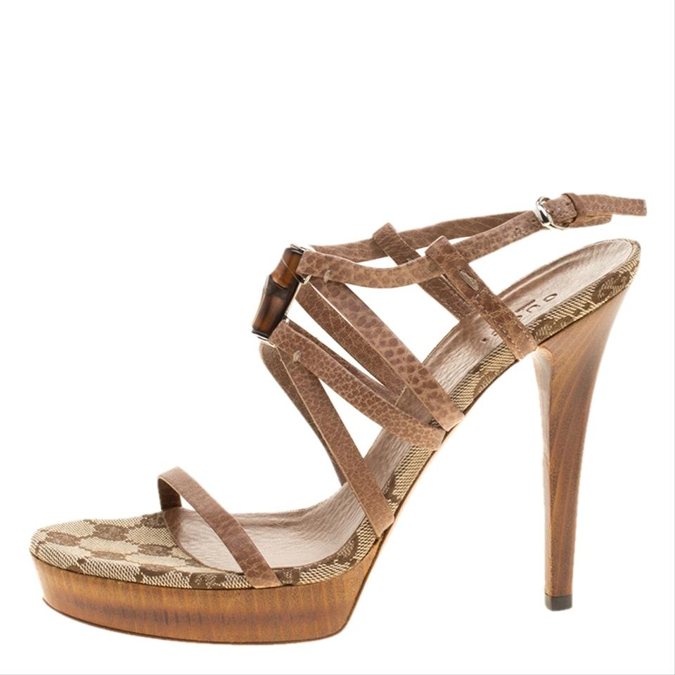 8cb43e5a653f Gucci Brown Leather Bamboo Icon Platform Sandals Size EU 36.5 (Approx. US  6.5) Regular (M