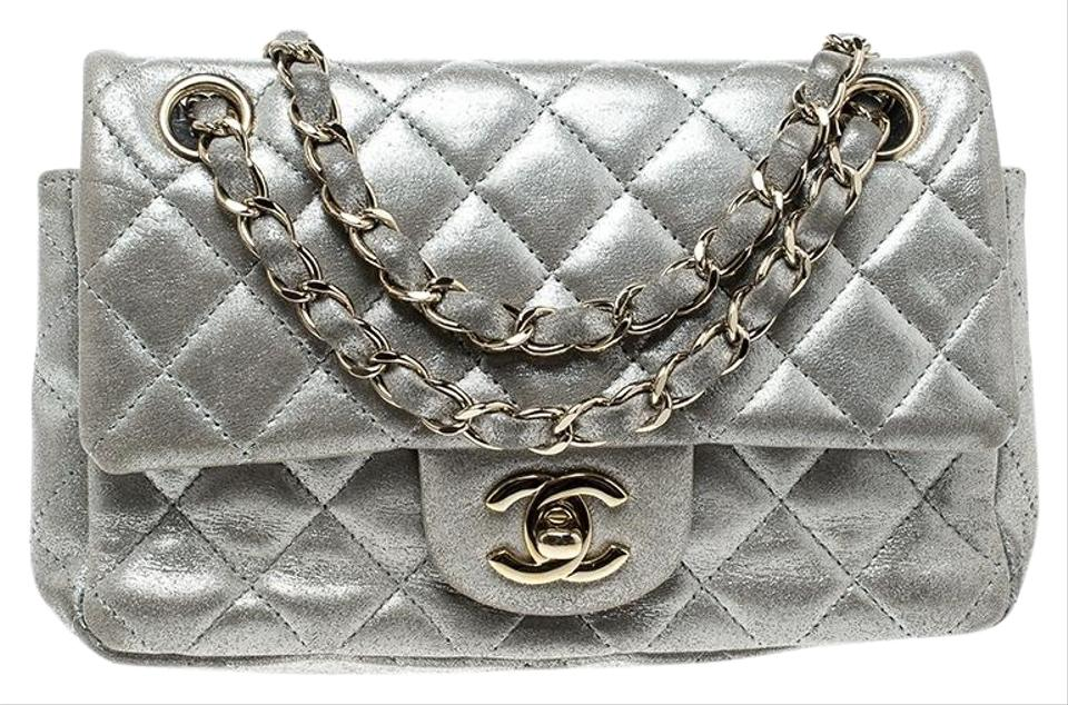 24acc0ed3b1a Chanel Classic Flap Quilted New Mini Classic Single Silver Leather ...