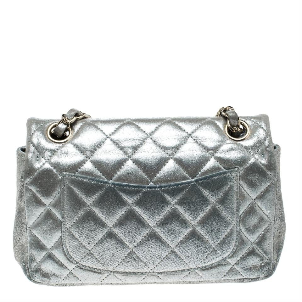 Chanel Classic Flap Quilted New Mini Classic Single Silver Leather ... b69a9fe3a4d0b
