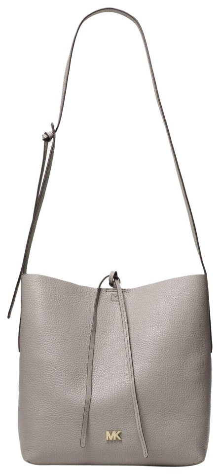 a64ae6763916 Michael Kors Shoulder Junie Large Pearl Gray Leather Messenger Bag ...